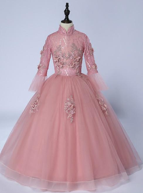 Pink Tulle High Neck Long Sleeve Appliques Floor Length Girl Dress