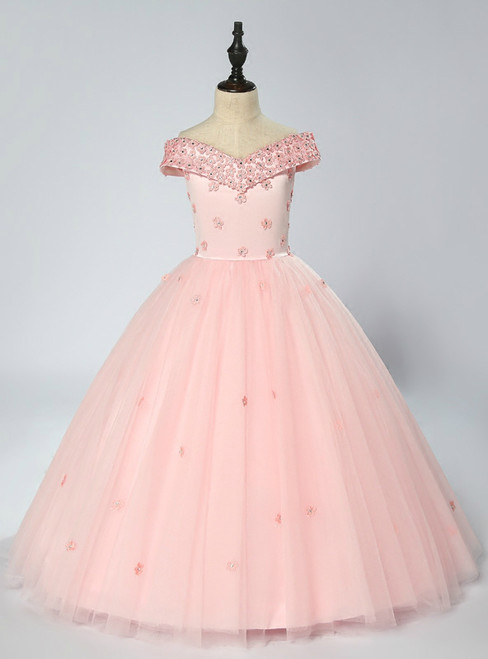 Pink Tulle Off The Shoulder Floor Length Appliques Flower Girl Dress