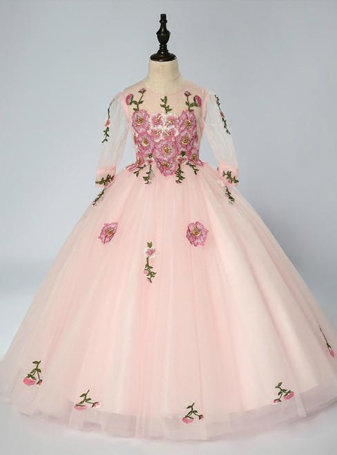 Pink Tulle Appliques Long Sleeve Floor Length Flower Girl Dress