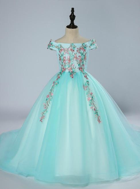 Blue Ball Gown Tulle Off The Shoulder Flower Girl Dress