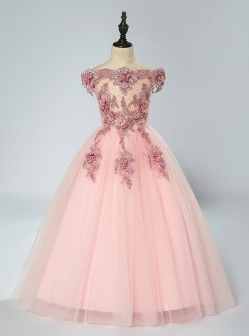 Pink Ball Gown Tulle Off The Shoulder Appliques Flower Girl Dress