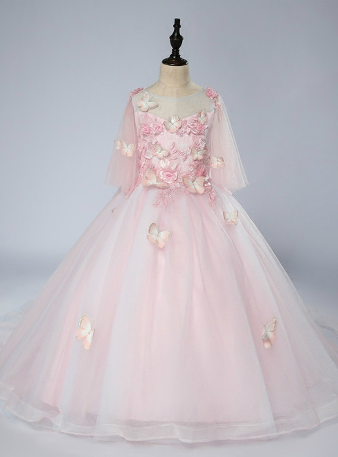 Pink Ball Gown Short Sleeve With Butterfly Flower Girl Dress
