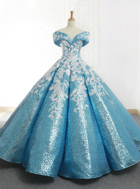 Blue Ball Gown Sequins Off The Shoulder Appliques Wedding Dress