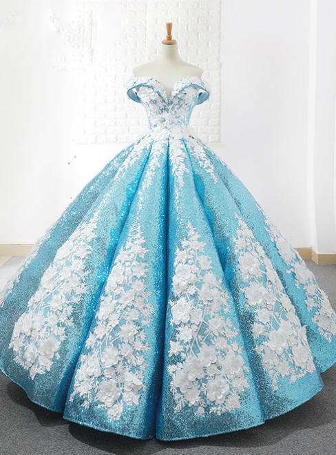 Blue Sequins Off The Shoulder Floor Length Appliques Wedding Dress