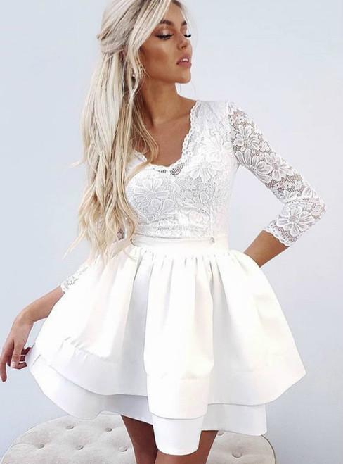 34a2c40252e A Line White V Neck Long Sleeve Lace Short Homecoming Dresses