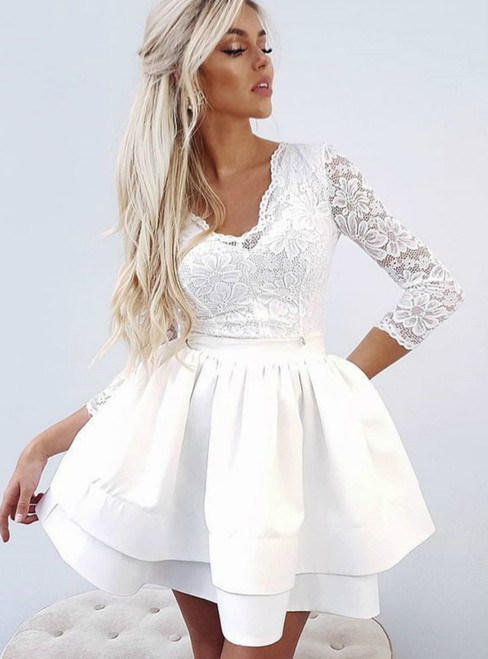 A Line White V Neck Long Sleeve Lace Short Homecoming Dresses