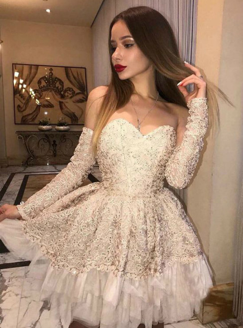 A Line Off The Shoulder Long Sleeves Champagne Lace Homecoming Dress