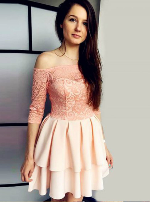Pink Lace Satin Short Sleeve Off The Shoulder Homecoming Dress