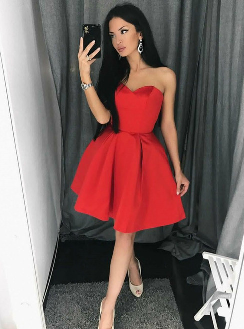 A-Line Red Sweetheart Neck Stain Short Homecoming Dresses