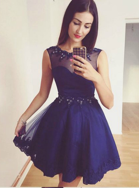 A-Line Navy Blue Beaded Short Homecoming Dress With Lace