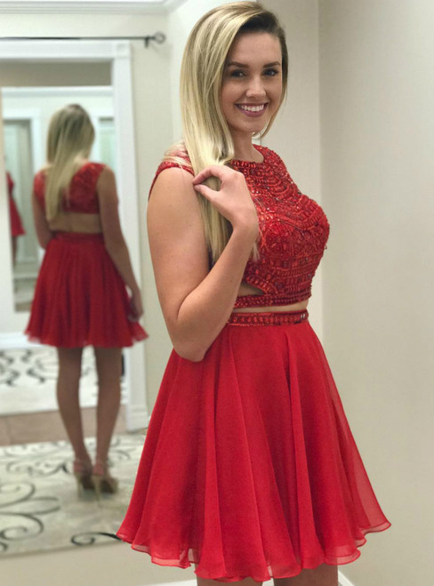 Red Two Piece Chiffon Backless Witn Crystal Homecoming Dress