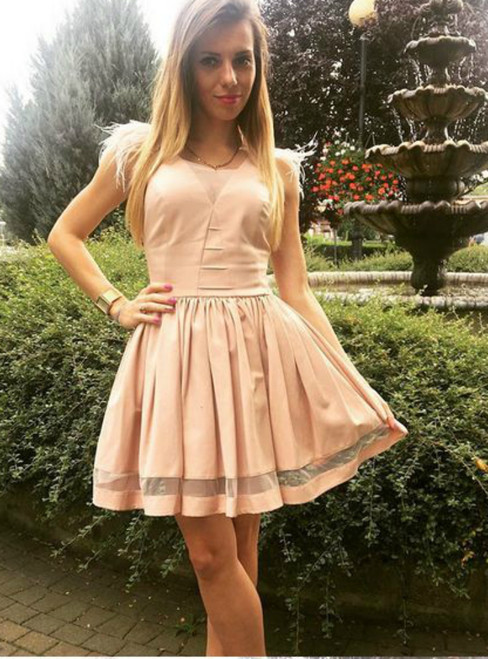 A Line V Neck Cute Pink Short Homecoming Dress With Pleats