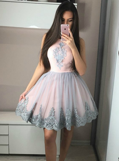 A-Line Round Neck Knee Length Pink Appliques Homecoming Dress