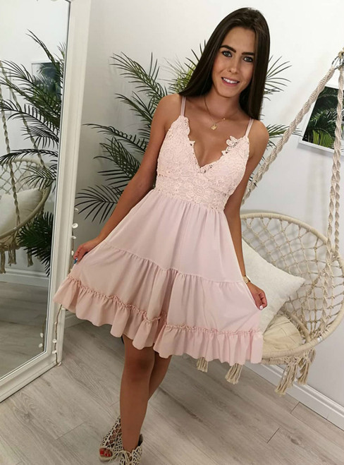 A Line Pink Spaghetti Strap Sweet 16 Dresses Graduation Dress