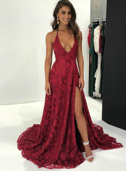 Burhundy Deep V-neck Backless With SIde Split Lace Prom Dresses