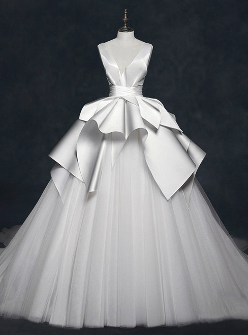 White Satin Tulle See Through Neck Backless Wedding Dress