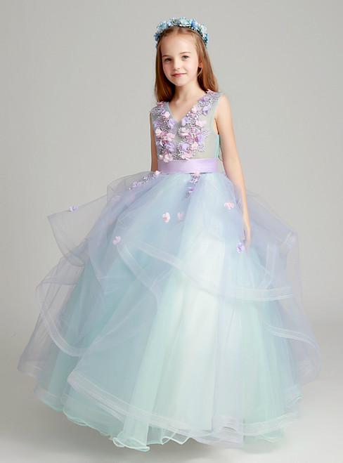Blue Tulle V-neck Appliques Floor Length Flower Girl Dress