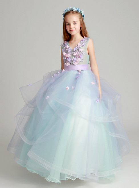 Blue Tulle V-neck Appliques Floor Length Flower Girl Dress