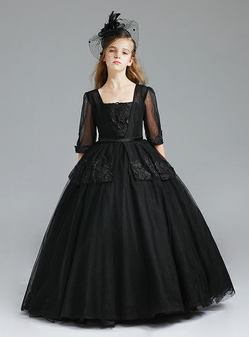 Ball Gown Black Tulle Half Sleeve Floor Length Flower Girl Dress