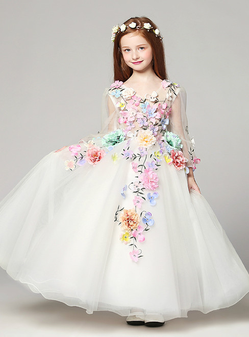 White Tulle Long Sleeve Appliques V-neck Flower Girl Dress
