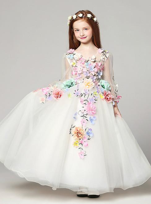 White Tulle Long Sleeve Appliques V-neck Flower Girl Dress