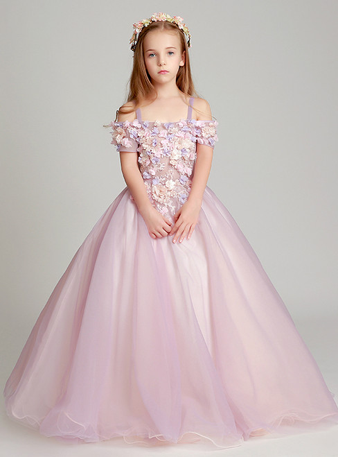 Pink Tulle Spaghrtti Straps Appliques Floor Length Flower Girl Dress