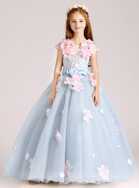 Blue Tulle Appliques Cap Sleeve Floor Length Flower Girl Dress