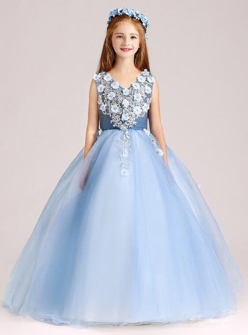 A-Line Blue Tulle V-neck Appliques Floor Length Flower Girl Dress