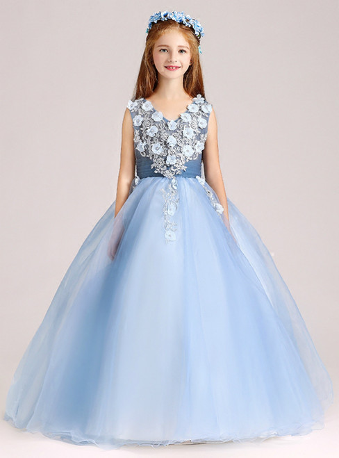 A-Line Blue Tulle V-neck Appliques Floor Length Flower Girl Dress