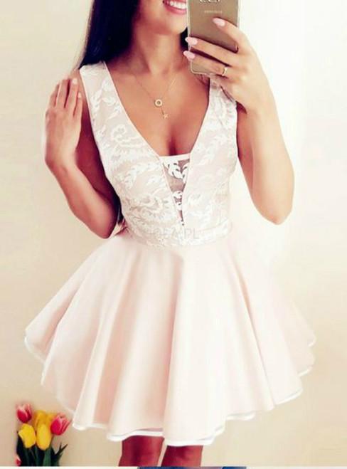 A-Line Deep V-Neck Pink Satin Lace Homecoming Dress