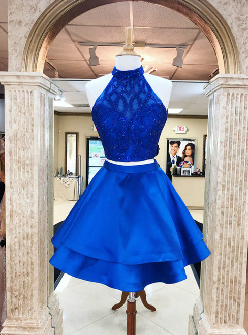 A-line Blue Satin Halter Neckline Two Pieces Homecoming Dresses