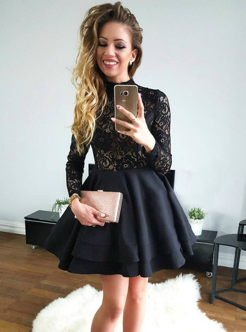 A-Line Black High Neck Long Sleeves Satin Homecoming Dress