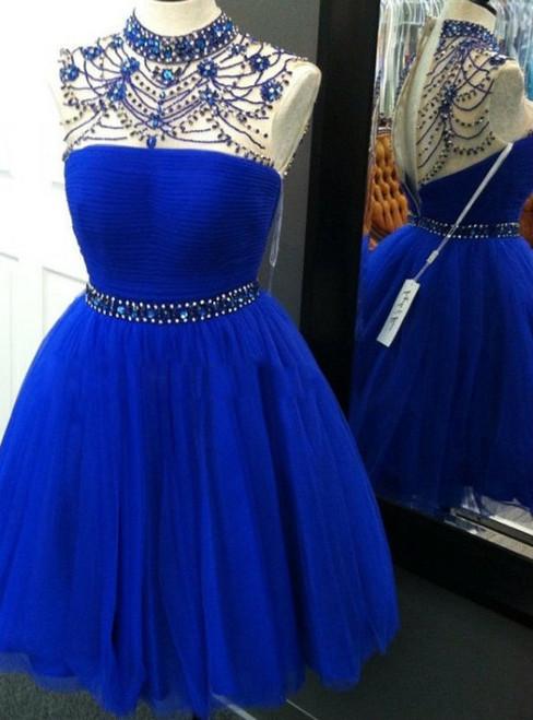 Elegant A-Line Homecoming Dresses High Neck Knee Length