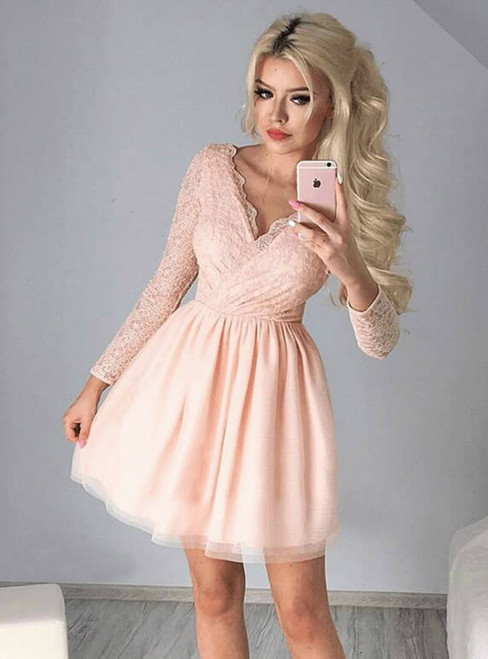 A-Line V-Neck Pink Long Sleeves Short Homecoming Dress