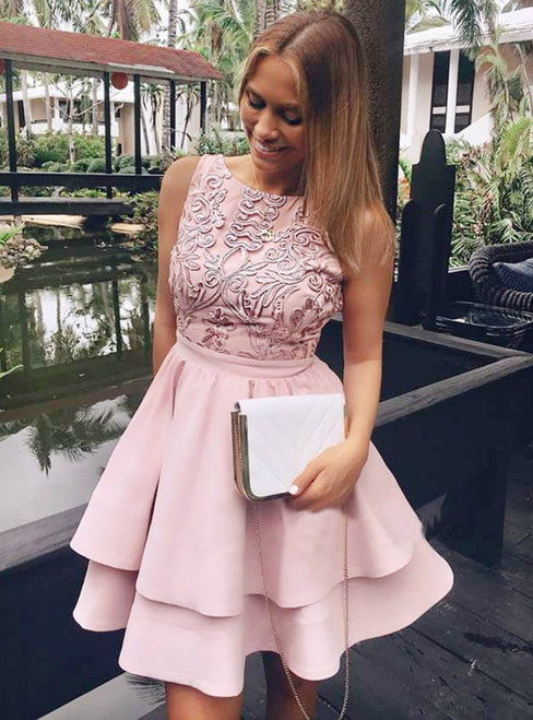 A-Line Tiered Blush Satin Appliques Homecoming Dress