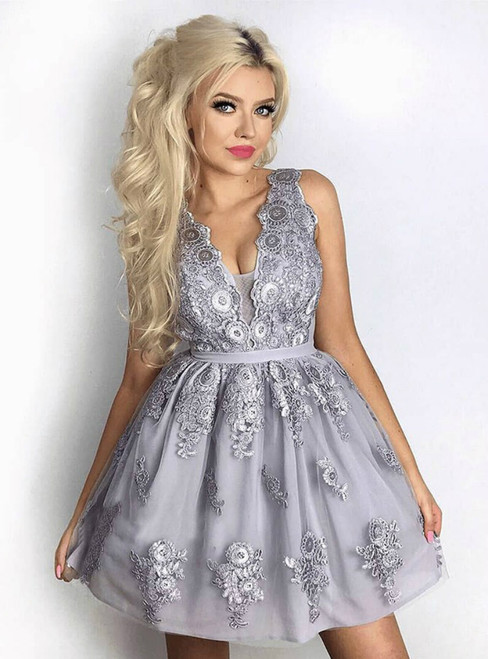 A-Line V-Neck Grey Tulle Homecoming Party Dress With Appliques