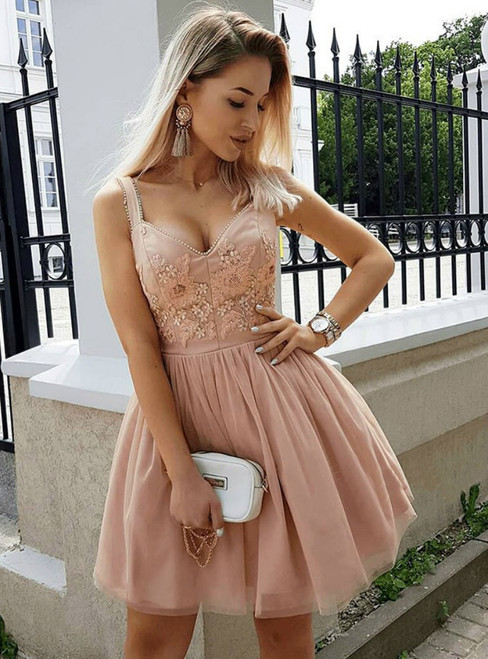 A-Line Straps Pink Tulle Homecoming Dress With Appliques