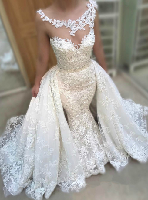 Mermaid White Lace Tulle Sleeveless Princess Train Wedding Dress