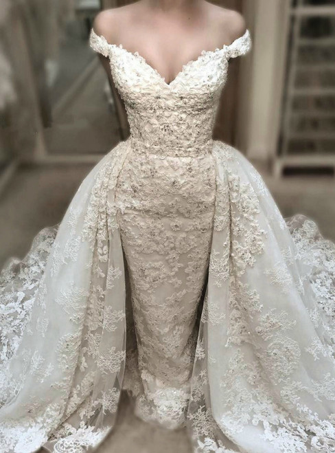 White Mermaid Tulle Lace Appliques Off The Shoulder Wedding Dress