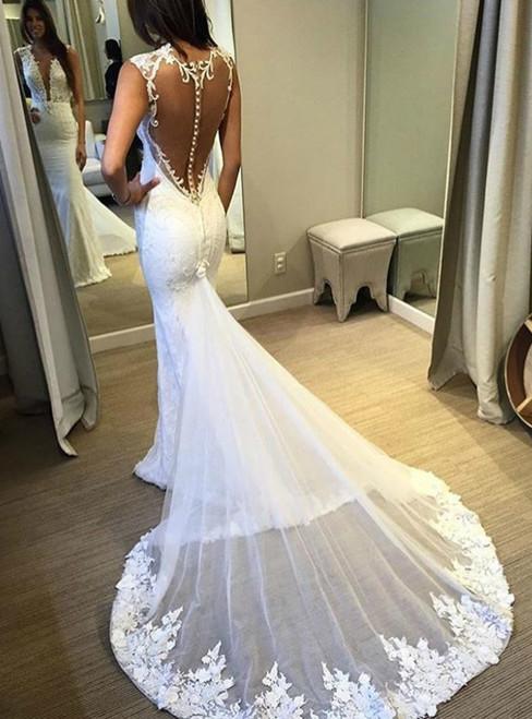See Through Back Mermaid Appliqued Lace Wedding Dress