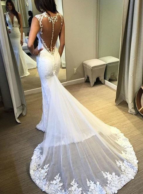 See Through Back Mermaid Appliqued Lace Wedding Dress