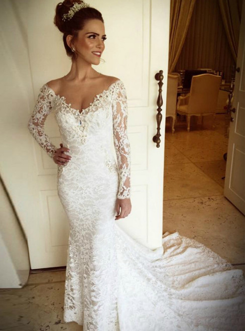 Mermaid V Neck Appliqued Lace Long Sleeve Pearls Long Wedding Dresses