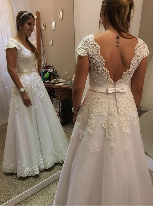 A-Line V-Neck Lace Cap Sleeves Floor Length Wedding Dress