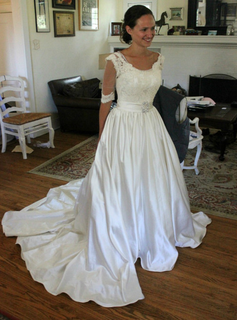 White Satin Lace Bateau Neck Short Sleeve Backless Wedding Dress