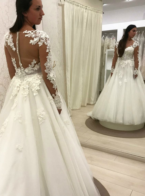 A-Line Tulle Appliques See Through Back Long Sleeve Weddign Dress