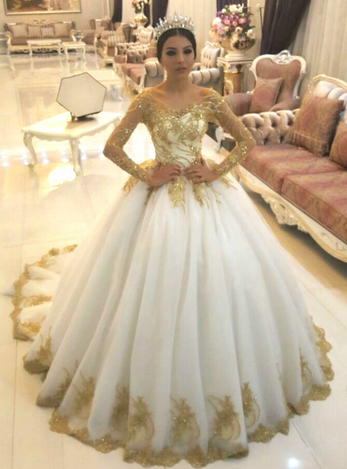 White Tulle Gold Lace Appliques Long Sleeves Ball Gown Wedding Dresses