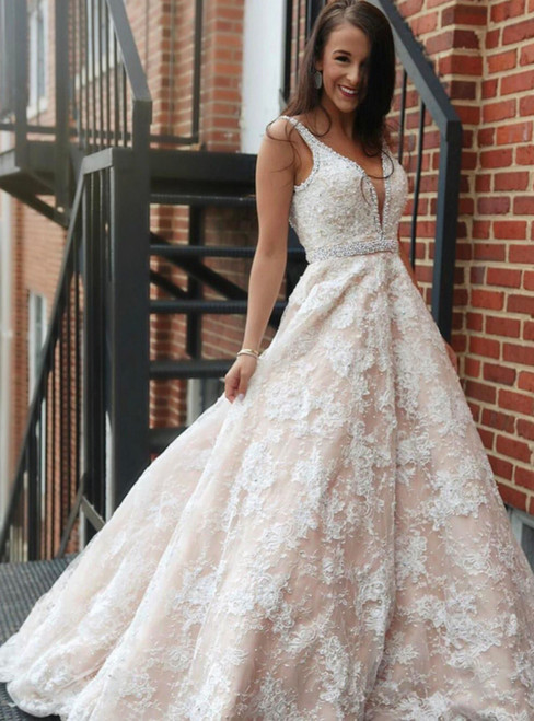Champagne Lace Spaghetti Straps Backless Floor Length Wedding Dress