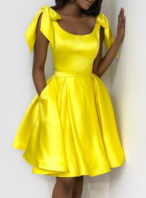 Yellow Satin Bow Shoulders Ruffles Short Homecoming Dresses With Pocket