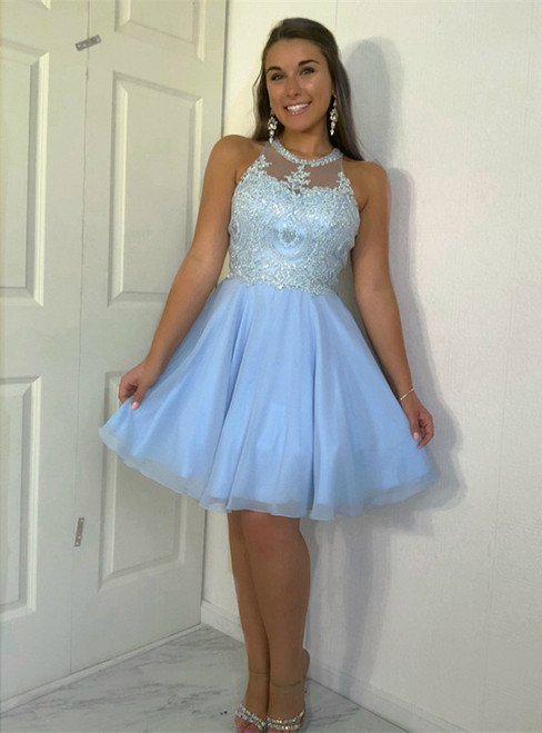 A-line Tulle Jewel Neckline Beaded Appliques Homecoming Dresses