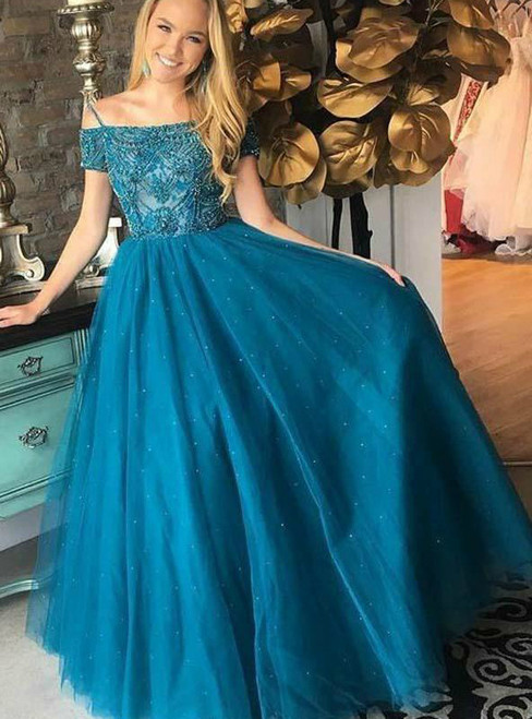 Blue Spaghrtti Straps Tulle Backless With Beading Prom Dress